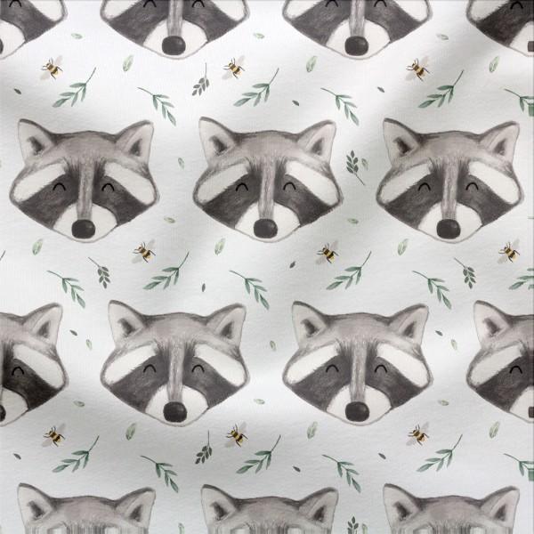 French Terry Digitaldruck Waschbär