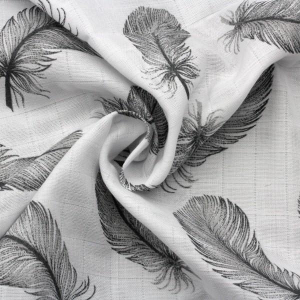 Musselin Single Gauze Federn Grau