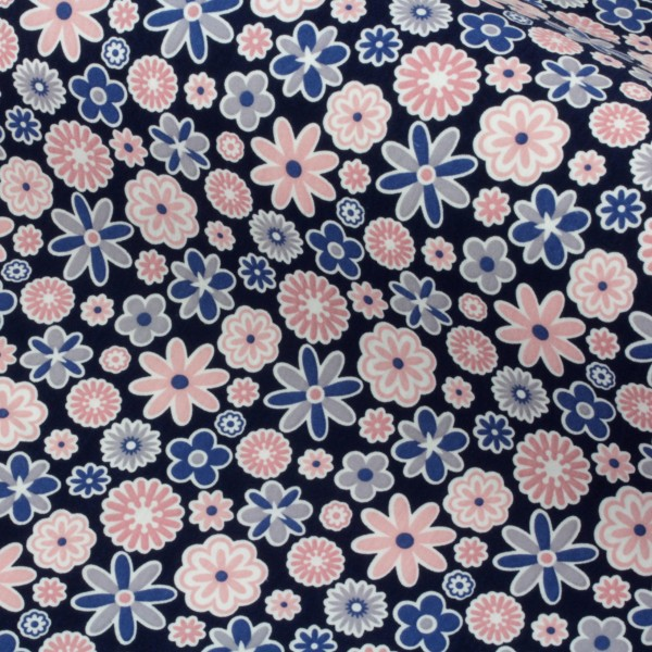 Jersey Stoff Bedruckt Gemustert Blumen Blau Rosa