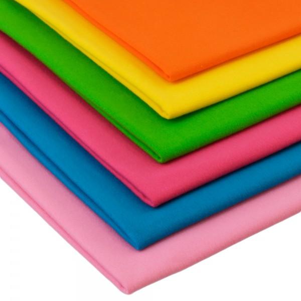 6 x 0,25m Bündchenstoff Set Knallige Farben