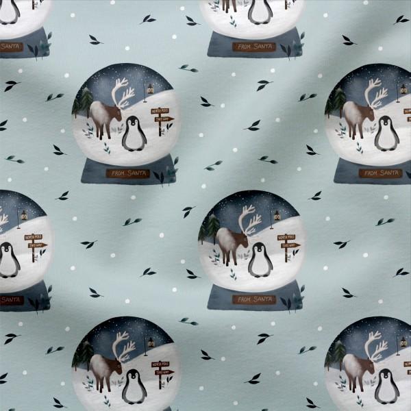 French Terry Digitaldruck Santa´s Schneekugel