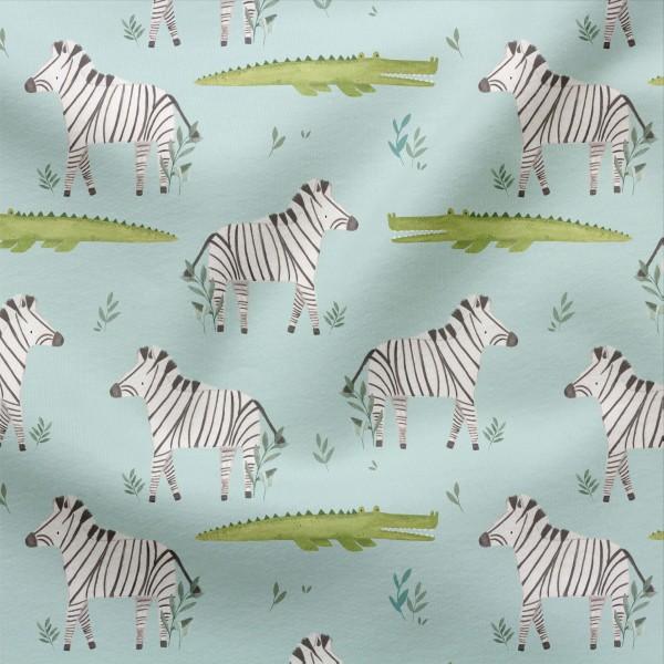 Jerseystoff Digitaldruck Mutiges Zebra