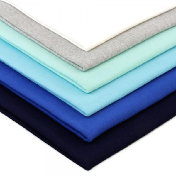 6 x 0,25m Bündchenstoff 140 cm Breit (2 x 70 cm als Schlauch) Blautöne
