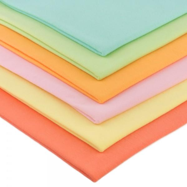 6 x 0,25m Bündchenstoff 150 cm Breit (2 x 70 cm als Schlauch) Pastelltöne 2