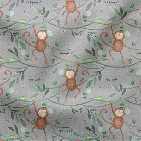 French Terry Digitaldruck Monkey Town Grau