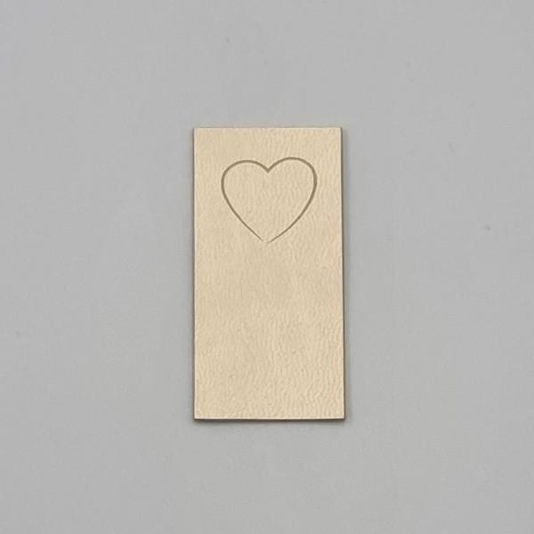 Kunstleder Label Herz 5 x 2,5 cm