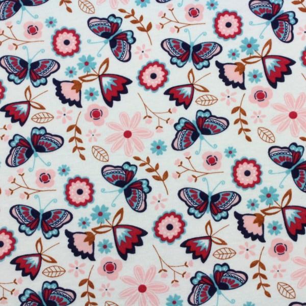 Jersey Stoff Bedruckt Schmetterling Blau Rosa
