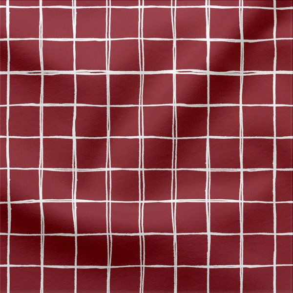 Jerseystoff Digitaldruck Grids Klein 3 x 3 cm Bordeaux