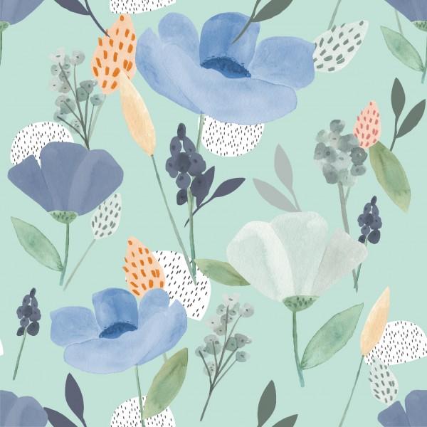 Jerseystoff Digitaldruck Annie´s Flowers