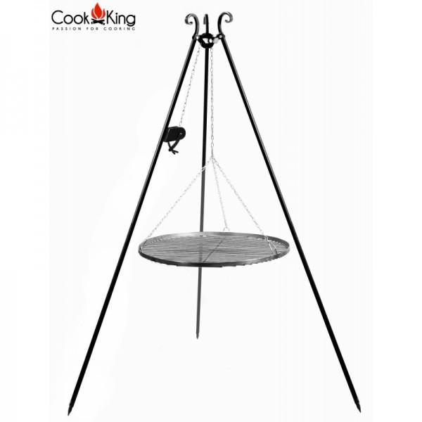 COOK KING Schwenkgrill mit Rohstahlrost Kurbel 70cm 80cm Grillrost am Dreibein