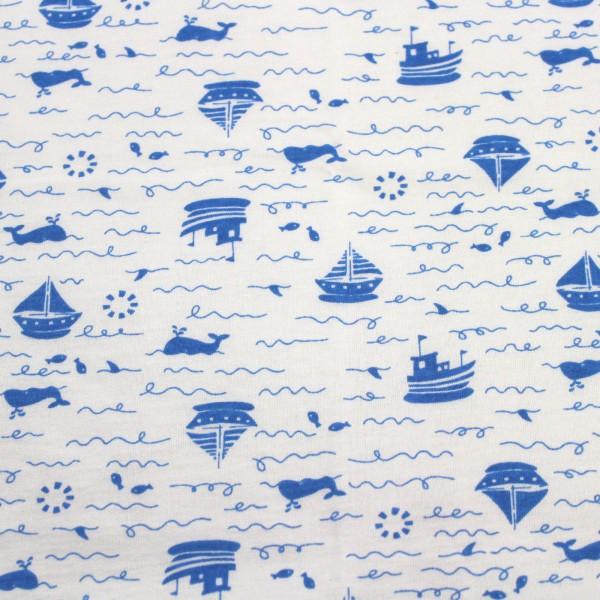 Jersey Stoff Bedruckt Boote Blau