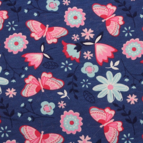 Jersey Stoff Bedruckt Schmetterling Blau
