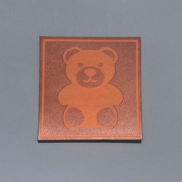 Kunstleder Label Bärchen 5 x 5 cm
