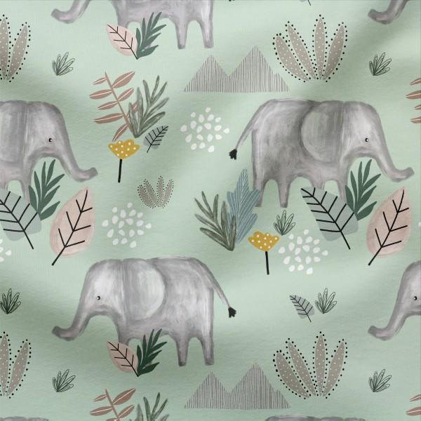Jerseystoff Digitaldruck Ellie Elefant