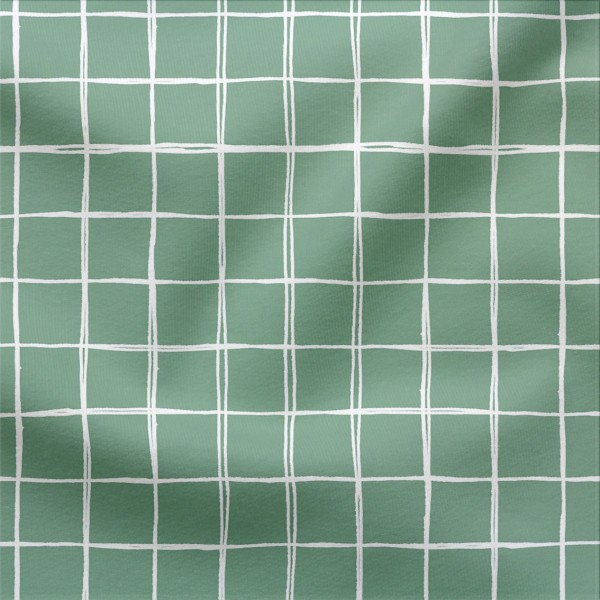 French Terry Digitaldruck Grids Klein 3x3 cm Grün