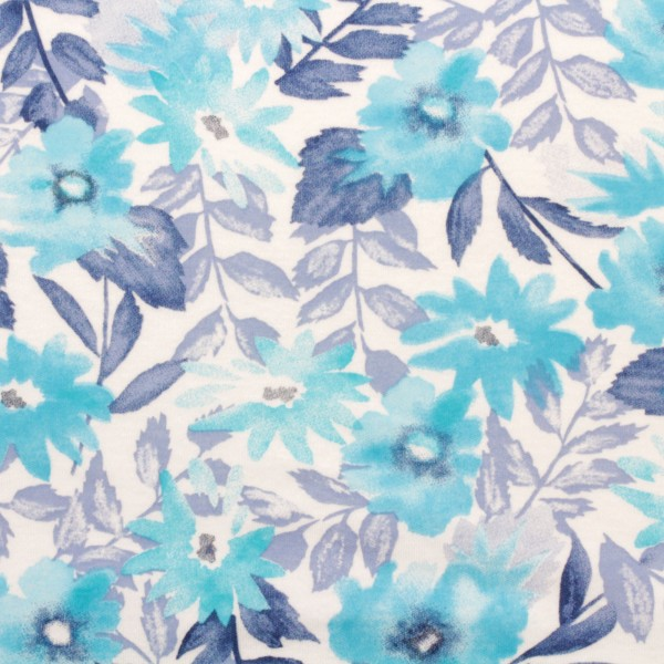 Jersey Stoff Bedruckt Aqua Flowers