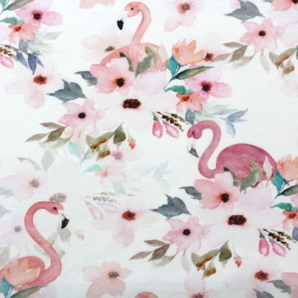 Jerseystoff Digitaldruck Flamingos und Blumen