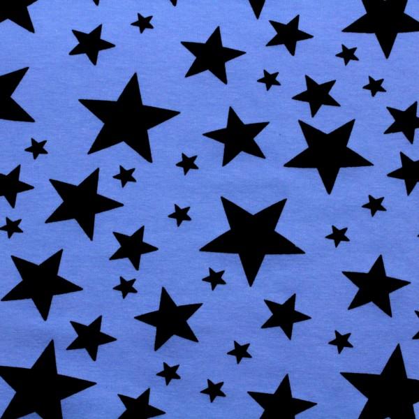 French Terry Jersey Sterne auf Denimblau