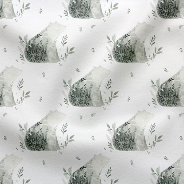 Jerseystoff Digitaldruck Eukalyptusbär Weiß