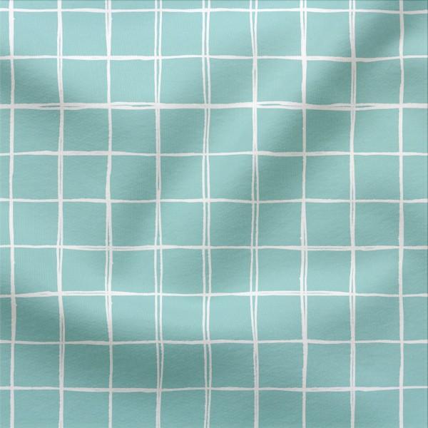 Jerseystoff Digitaldruck Grids Klein 3 x 3 cm Blaugrün