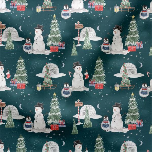 French Terry Digitaldruck Santa Village Rest 45 cm