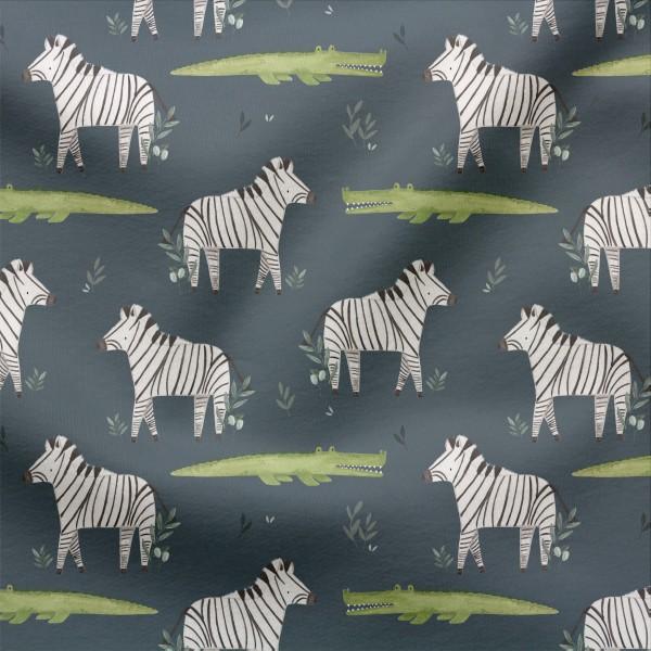 French Terry Digitaldruck Mutiges Zebra Tiefblau
