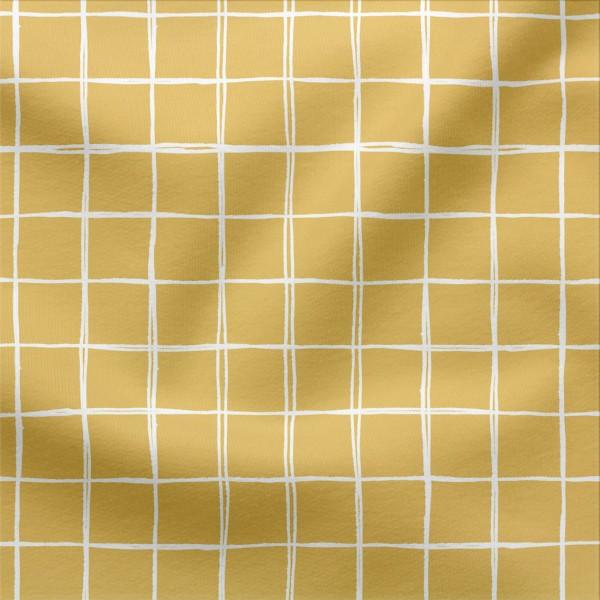 Jerseystoff Digitaldruck Grids Klein 3 x 3 cm Senfgelb