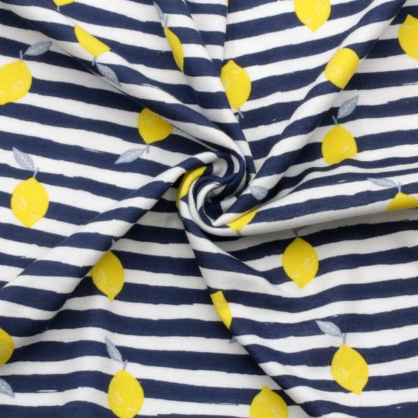 Jersey Stoff Bedruckt Zitronen Gelb