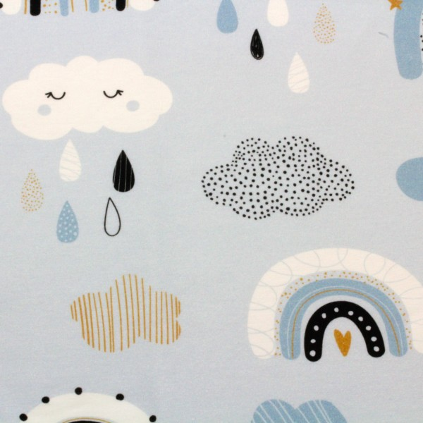 Jerseystoff Digitaldruck Regenbogen Wölkchen