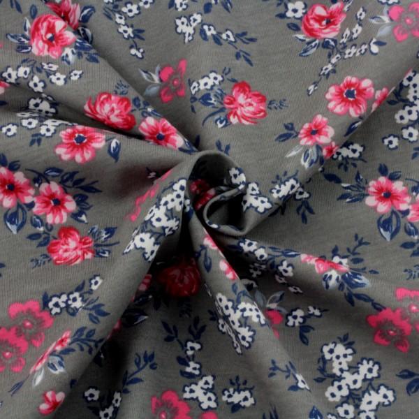 Jersey Stoff Bedruckt Blumen Pink auf Grau