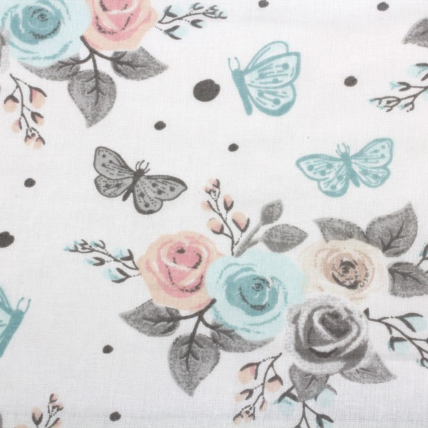 Baumwollstoff Popeline Rosen und Schmetterlinge