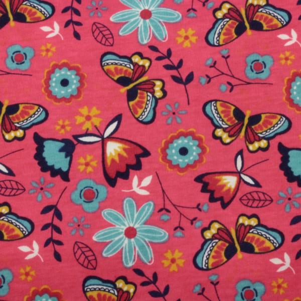 Jersey Stoff Bedruckt Schmetterling Pink