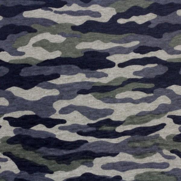 Jersey Stoff Bedruckt Camouflage Grün