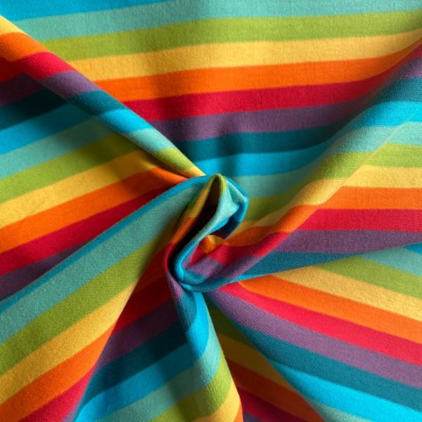Jersey Stoff gestreift Rainbow