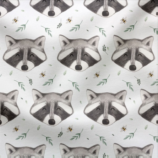 Jerseystoff Digitaldruck Waschbär