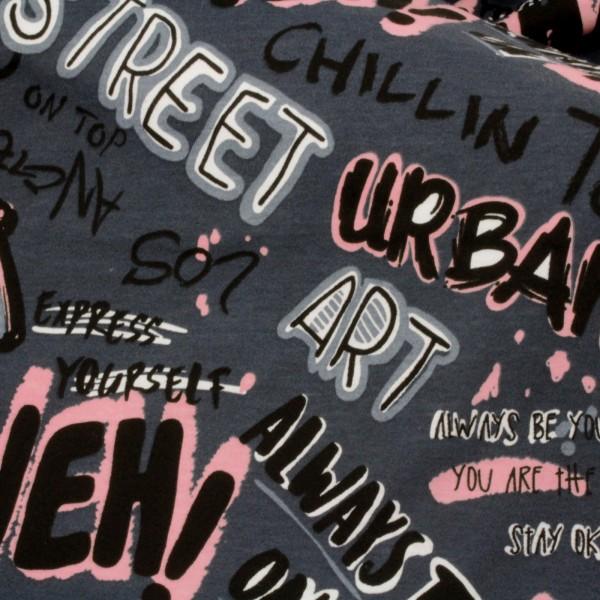 Jersey Stoff Bedruckt Graffiti