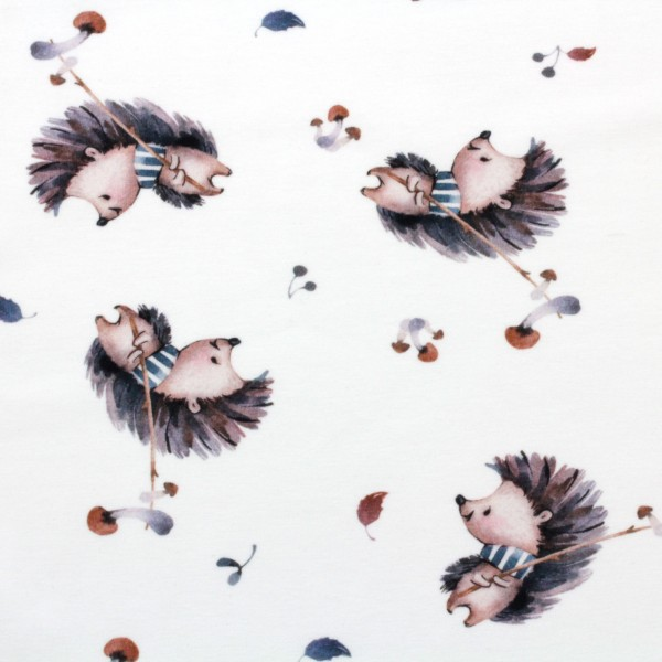 Jerseystoff Digitaldruck Igel und Pilze