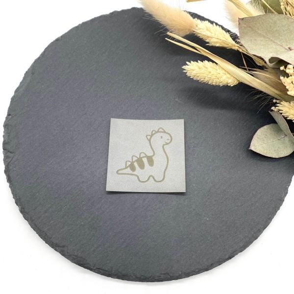 Kunstleder Label Dino Grau 5 x 5 cm