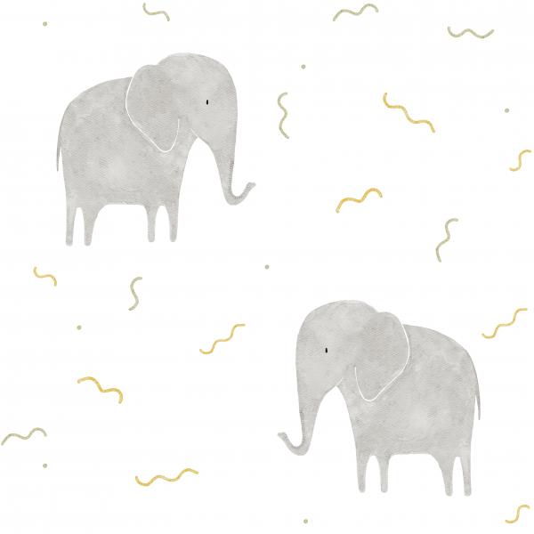 Jerseystoff Digitaldruck Elefant Weiß