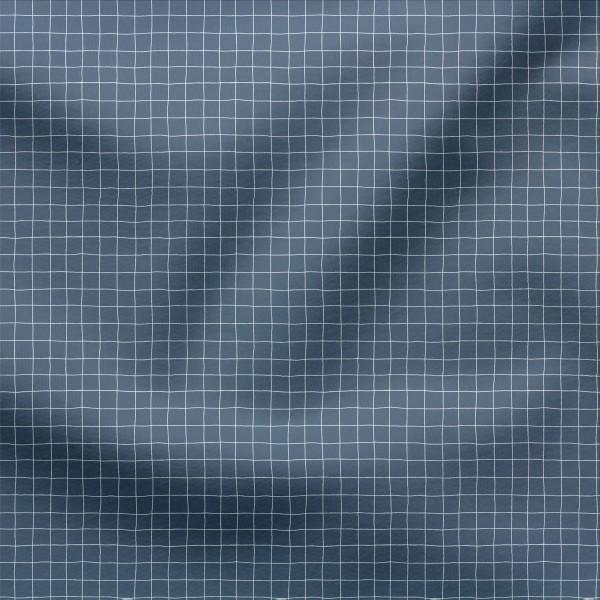 French Terry Digitaldruck Mini Grids Cool Blue 1 x 1 cm