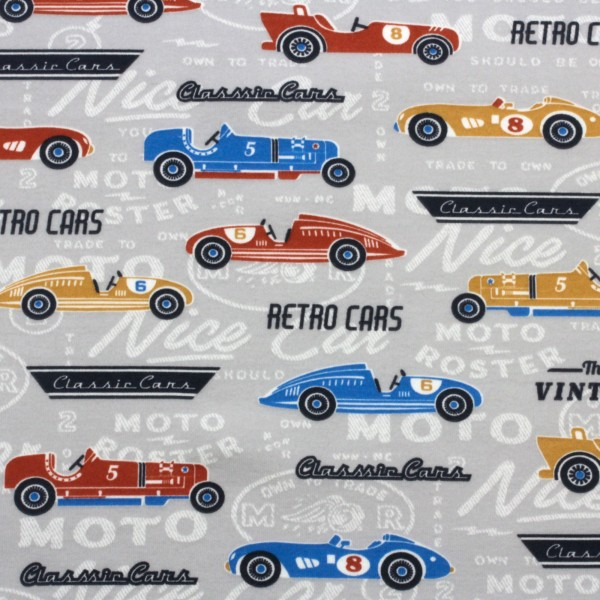 Jersey Stoff Bedruckt Retro Cars