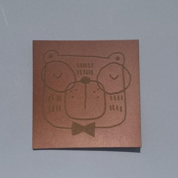 Kunstleder Label Schlaubär 5 x 5 cm