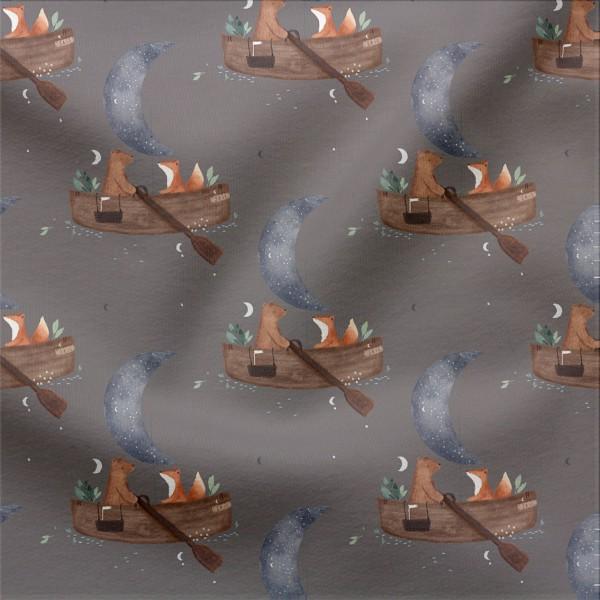 French Terry Digitaldruck Rudern im Mondschein