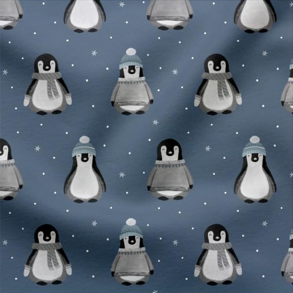 Jerseystoff Digitaldruck Pinguin Parade Dunkel