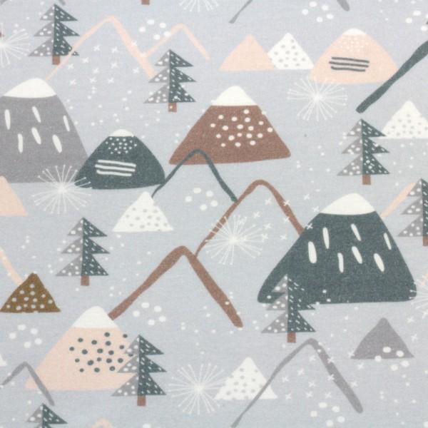 Jerseystoff Digitaldruck Berge und Schnee