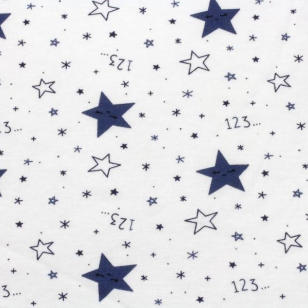 Jersey Stoff Bedruckt Sterne123 Blau