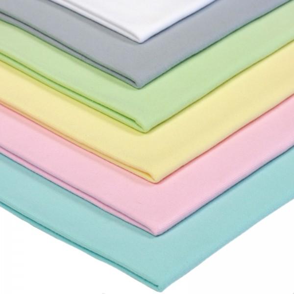 6 x 0,25m Bündchenstoff Set Pastelltöne 3