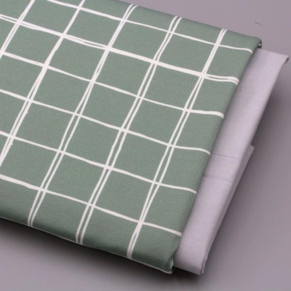 Jerseystoff Digitaldruck Grids Klein 3 x 3 cm Grün