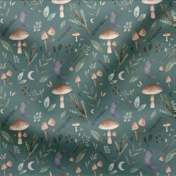 French Terry Digitaldruck Pilze im Mondschein