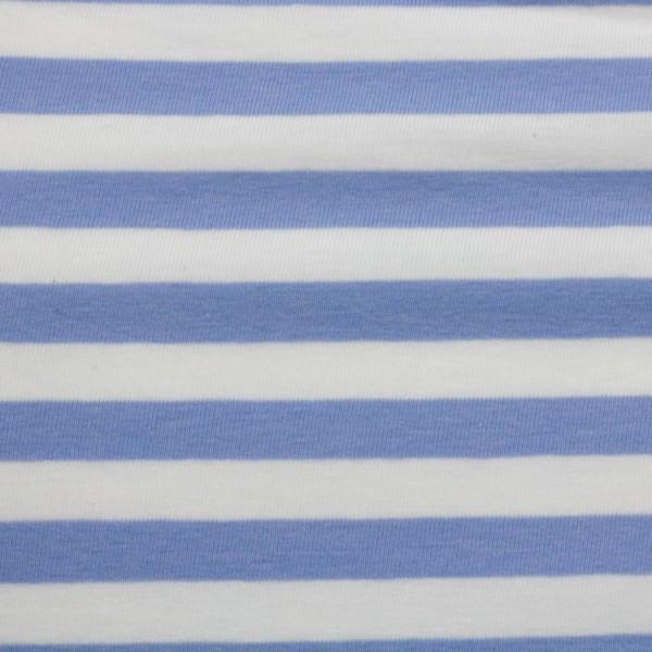 Jersey Stoff Gestreift Himmelblau - Weiß